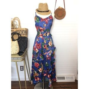 NWT Band Of Gypsies Satin Floral Ruffle Dress
